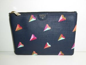 FOSSIL BLUE GRAPHIC PRINT ZIP POUCH LEATHER TRIM