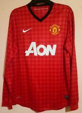 MANCHESTER UNITED FOOTBALL CLUB 2012 L/S Rouge home shirt L/XL Nike AON Barrett 10