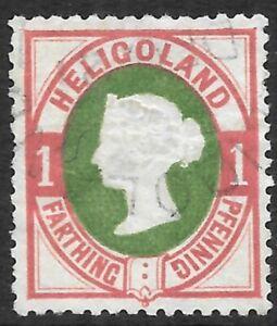 HELIGOLAND 1875 1p(1/4d) deep green & rose, used light CDS. SG 10. Cat.£550.