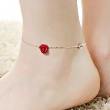 18K Rose Gold GF Made With SWAROVSKI & Resin Red Rose Exquisite Anklet Bracelet