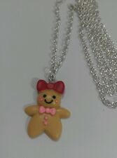 "Gingerbread Man Woman Girl Charm Pendant Necklace 30"" Long Silver Tone Necklace"