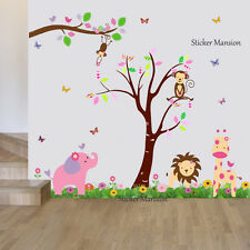 Monkey Animal Wall Stickers Jungle Zoo Pink Nursery Baby Girls Room Decal Art