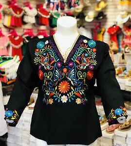 Mexican Hand Embroidered 3/4 Sleeve Style Blouse Only Size XL Available
