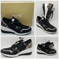 Michael Kors Liv Trainer Sneakers Black / Gun Canvas Zebra Womens Size 9.5 NEW