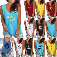 Womens Vest Cami T Shirt Sleeveless Blouse Ladies V Neck Summer Tank Tops Plus
