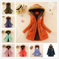 Women Coat Parka Casual Military Outerwear Hood Winter Fur Warm Overcoat Jacket