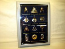 Star Trek Collector Insignia Set with Wooden Glass Door Case & Booklets * RARE
