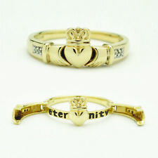 14k Yellow Gold Diamond Claddagh Hinged Open Hands Eternity Ring size 8 1/4