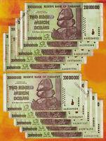 Zimbabwe 200 Million Dollars x 10 Banknotes, AA 2008 Currency, Circulated, 10PCS
