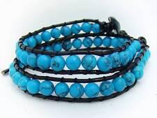 2 Wrap Bracelet  6mm  BLUE TURQUOISE stone beads leather fashion bracelet