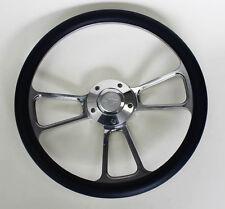 """Steering Wheel Navy Blue & Billet Fits Ididit Column 14"""" Chevy Bowtie Center Cap"""