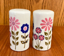 Vintage Japan Ceramic Mod Flower Salt and Pepper Shakers Pink Blue Green