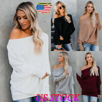 US Womens Off Shoulder Baggy Ladies Tops Blouse Knitted Oversized Sweater Jumper