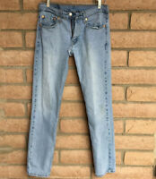 Levi's Mens Jeans 511 31 x 32 Faded Denim Blue Tapered Leg Distressed Rips Holes