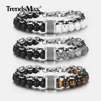 "Mens Cable Rolo Bracelet Gunmetal Stainless Steel Tiger Eye Beaded Chain 8""-10"""