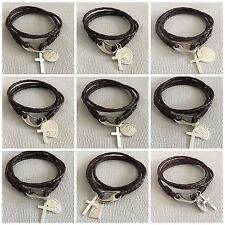 SILVER CROSS & CHOICE of 925 ST CHRISTOPHER Leather Bracelet - FREE ENGRAVING
