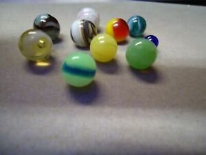 10 Vintage Mixed Makers Pee-Wee  Marbles  5/16  to  1/2   Mint - To Mint +  # B