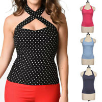 50s Style V-neck Vintage Rockanilly Classic PINUP Halter Top 10 Colors Plus Size
