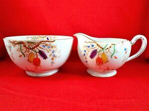 ROYAL GRAFTAN Milk Jug and Sugar Bowl TULIPS China FLORAL Vintage ART DECO Rare