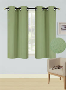 """1 SET 100% BLACKOUT INSULATE THERMAL SHORT PANELS WINDOW CURTAIN IN 36"""" 54"""" 63""""L"""