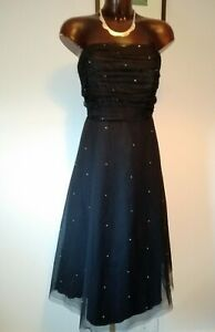 JFW Black strapless mesh party/cocktail dress with diamante beads size 14