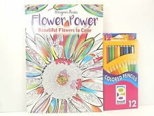 Kappa Adult Coloring Book Flower Power 30 Pages & 12 Sharpened Colored Pencils