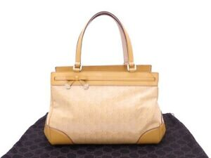 Auth Gucci GG Guccissima Mayfair Bow Handbag Yellow Patent Leather/Metal e45346d