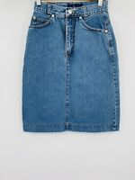 Vintage Ralph Lauren Denim Jean Skirt Womens Size 6 Back Slit knee