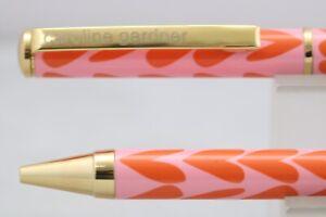 New Caroline Gardner Pink Hearts Ballpoint Pen with Chrome Trim, Refill & Case
