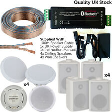 Bar/Restaurant Bluetooth 8x Ceiling & Wall Speakers -Wireless Background Amp Kit