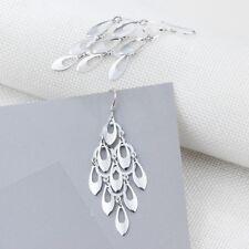 Women Sterling Silver Promise Long Tassel Chandelier Earrings Hook Jewellery