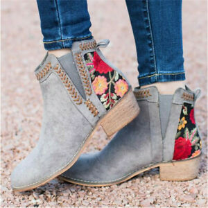 Women's Floral Print Booties Low Heels Block Casual Ankle Boots Slip On Shoes
