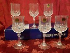 (6) Longchamp Cristal d'arques 24% LeadCrystal Wine Goblets France Pristine Cond
