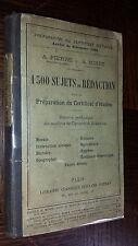 1300 SUJETS DE REDACTION POUR LA PREPARATION AU CERTIFICAT D'ETUDES - 1894
