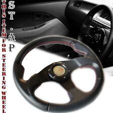 Universal 320Mm Jdm Racing Steering Wheel Fit 6 Bolt Hub Adapter Black/Black