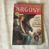 Argosy June 07 1930 Farley The Radio Menace Cvr,Talbot Mundy 6/30 pulp weird fic