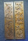 Pair of Antique Deep Carved Wood Door Panels Floral Motif