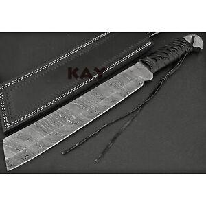 CUSTOM HANDMADE DAMASCUS STEEL RAMBO IV MACHETE SURVIVAL KNIFE, LEATHER WRAP