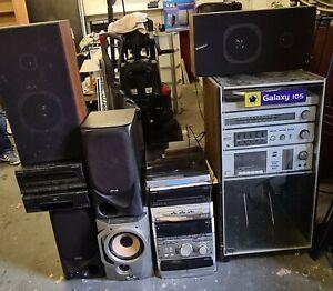 Various Hi Fi Systems, Vinyl record player, CD tape cassette, stereo music Retro