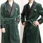 Men's Green Velvet Smoking Jacket Evening Robe Formal Overcoat Long Suits Belt