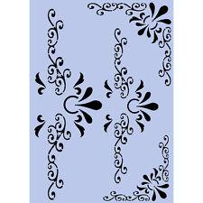 Modello Stencil Angoli & Serratura A4 MYLAR shabby chic per arredamento in tessuto 001