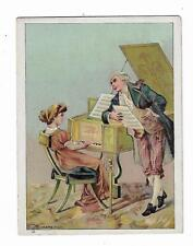 Trade Card JJ Henry Muller Furniture Carpets Newark NJ Couple Piano Hard Times