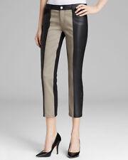 Genetic Denim Black Nora Color Block Faux Leather Crop Jeans in Elusive 23 NWT