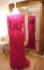 BNWT 2-PieceFishtail Long Mother of Bride Wine Red Duchess Satin Dress- 12