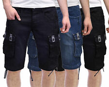 Mens Denim Shorts Crosshatch Played Cargo Combat Utility Pockets Jeans Pants
