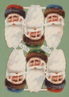 uralter Oblatenbogen Nikolaus Weihnachtsmann Köpfe L&B 30768 - DIE CUT SCRAPS
