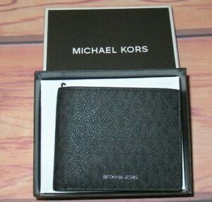 MENS MICHAEL KORS JET SET BLACK CHARCOAL BIFOLD LEATHER WALLET WITH ORIGINAL BOX