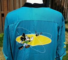 Disney Men's Bowling Shirt Turquoise Black w/ Mickey Mouse on Back XL Colorblock