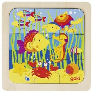 Puzzle, Holzpuzzle, Motiv Wassertiere, 9 Teile, ab 2 Jahre, goki