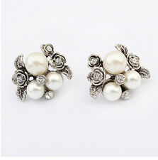 Vintage Silver Flower Leaves Crystal Rhinestone White Pearl Beads Earring Studs